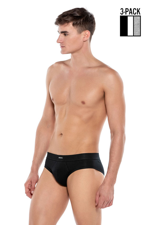 Punto Blanco 3-Pack Together Brief 3307210-587 Black White Grey - Mens Briefs - Side View - Topdrawers Underwear for Men
