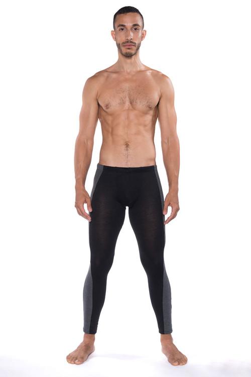 Go Softwear B2E Tights 3373-BL Black - Mens Long Underwear - Front View - Topdrawers Underwear for Men