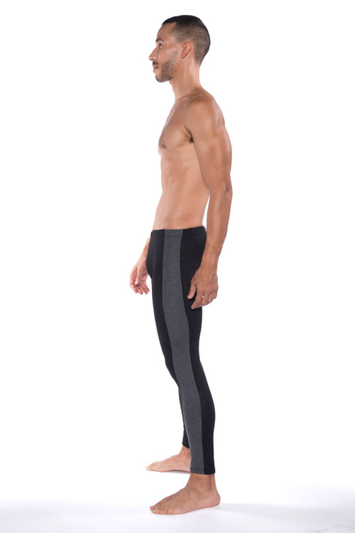 Go Softwear B2E Tights 3373-BL Black - Mens Long Underwear - Side View - Topdrawers Underwear for Men