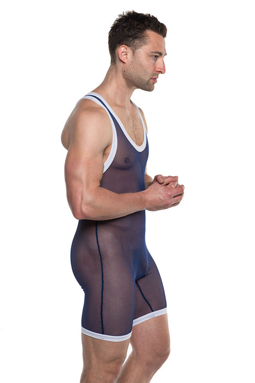 Go Softwear AJ Take Down Mesh Singlet 8897-NV Navy Blue - Mens Wrestling Singlets - Side View - Topdrawers Fetish Underwear for Men