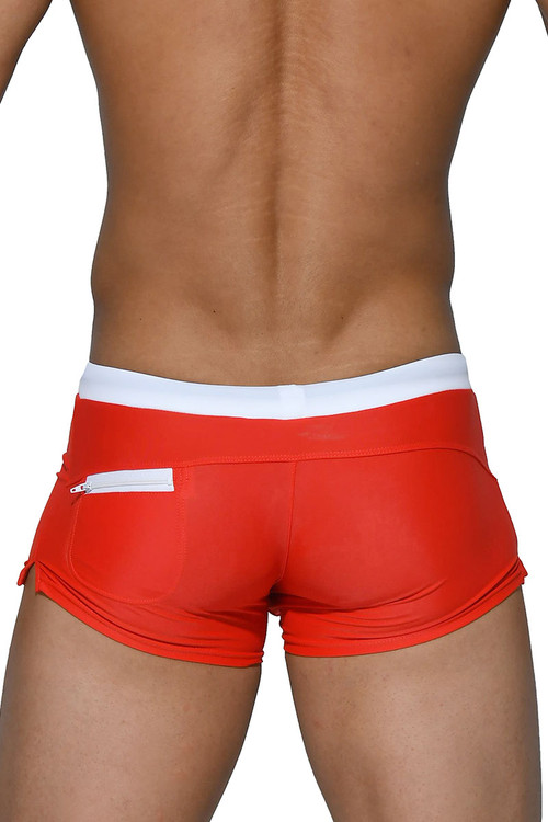 Private Structure BeFit Swim Trunk BWSX4082-RD Red - Mens Swim Trunk Boxers - Rear View - Topdrawers Swimwear for Men