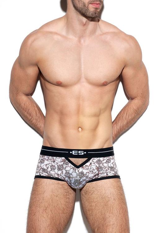 ES Collection Baroque Open Trunk UN325-28 Beige - Mens Boxer Briefs - Front View - Topdrawers Underwear for Men