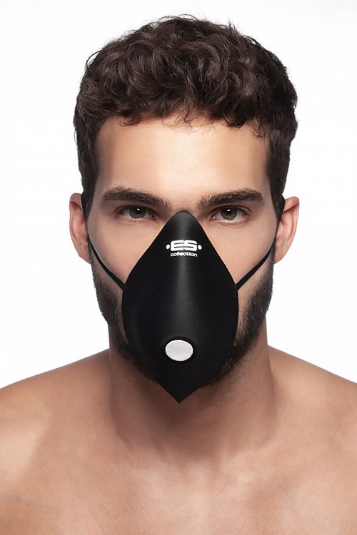 ES Collection Mask Up AC085-10 Black - Mens Reusable Face Masks - Front View - Topdrawers Protective Gear for Men