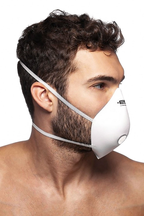 ES Collection Mask Up AC085-01 White - Mens Reusable Face Masks - Side View - Topdrawers Protective Gear for Men