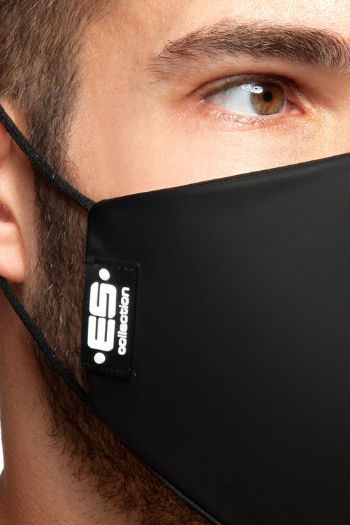 ES Collection Fetish Tape Mask AC119-10 Black - Mens Reusable Face Masks - Close Up View - Topdrawers Protective Gear for Men