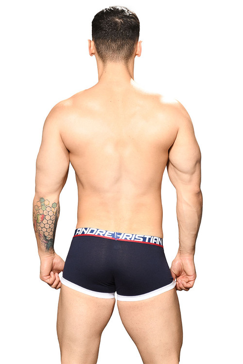 Andrew Christian Fly Tagless Boxer Almost Naked 91741-NV Navy Blue  - Mens Boxer Briefs - Rear View - Topdrawers Underwear for Men