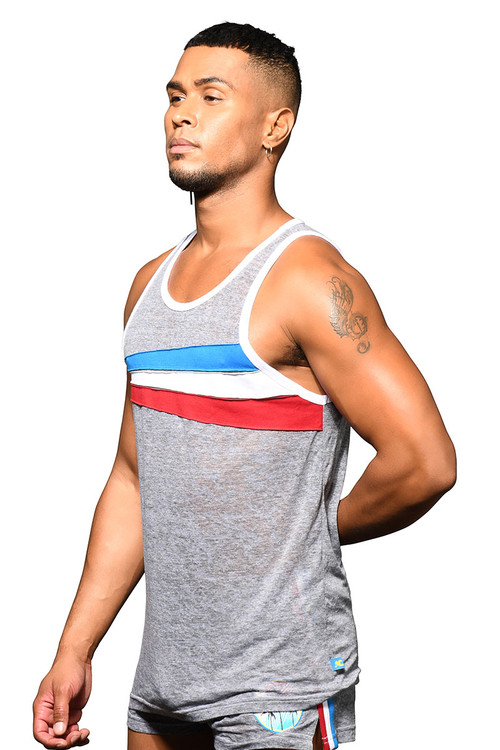 Andrew Christian California Superhero Burnout Tank 2802 - Mens Tank Tops - Side View - Topdrawers Clothing for Men