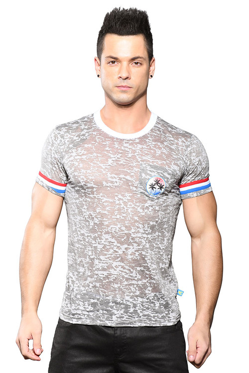 Andrew Christian California Superhero Burnout Tee 10311 - Mens T-Shirts - Front View - Topdrawers Clothing for Men