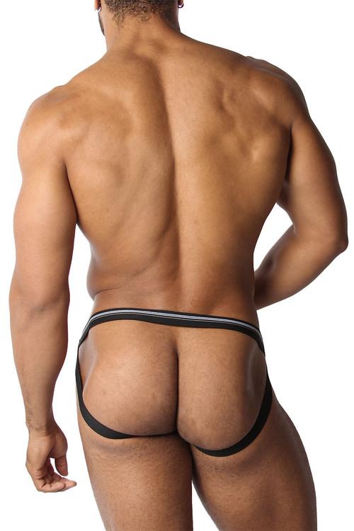 CellBlock 13 Tight End Swimmer Jockstrap CBU270-BL Black - Mens Jockstraps - Rear View - Topdrawers Underwear for Men