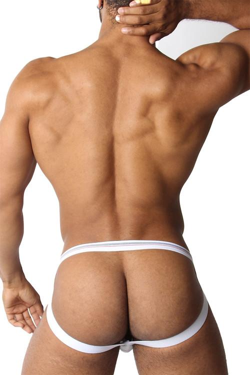 CellBlock 13 Tight End Swimmer Jockstrap CBU270-WH White - Mens Jockstraps - Rear View - Topdrawers Underwear for Men