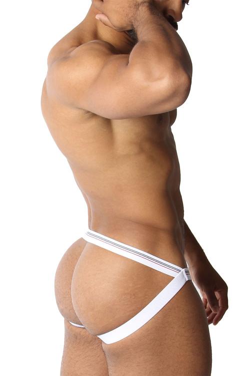 CellBlock 13 Tight End Swimmer Jockstrap CBU270-WH White - Mens Jockstraps - Side View - Topdrawers Underwear for Men