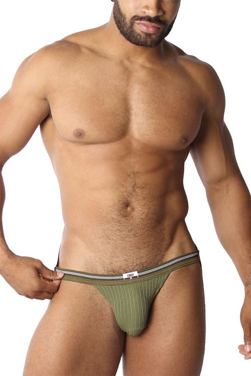 CellBlock 13 Tight End Swimmer Jockstrap CBU270-AR Army - Mens Jockstraps - Front View - Topdrawers Underwear for Men