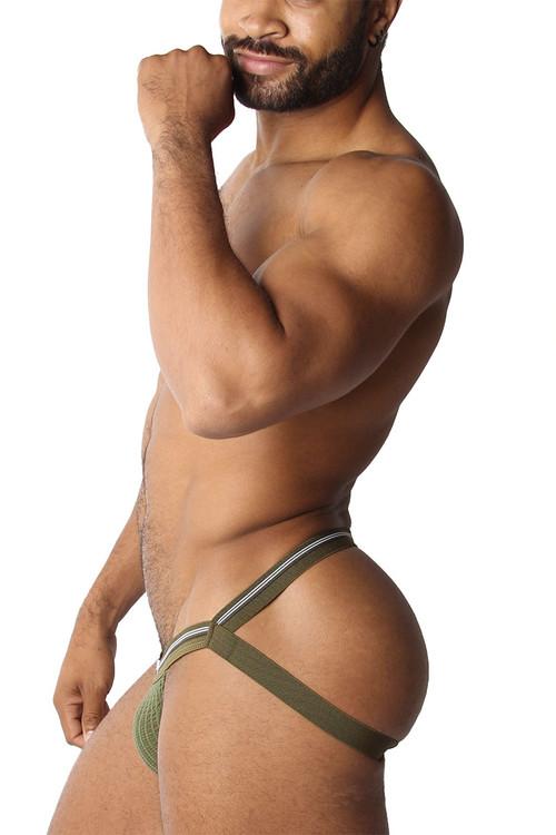 CellBlock 13 Tight End Swimmer Jockstrap CBU270-AR Army - Mens Jockstraps - Side View - Topdrawers Underwear for Men