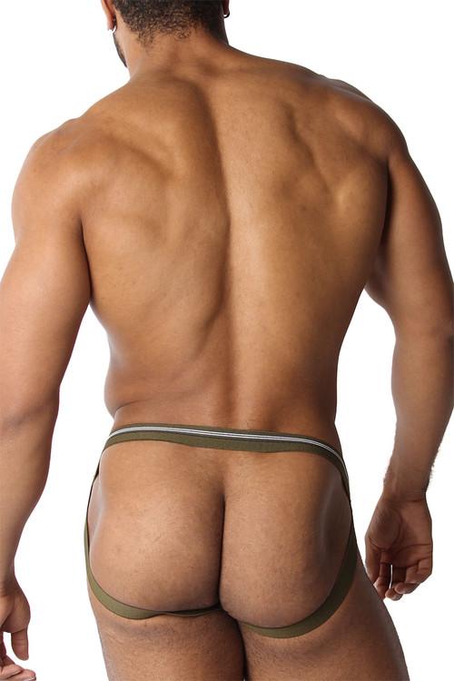 CellBlock 13 Tight End Swimmer Jockstrap CBU270-AR Army - Mens Jockstraps - Rear View - Topdrawers Underwear for Men