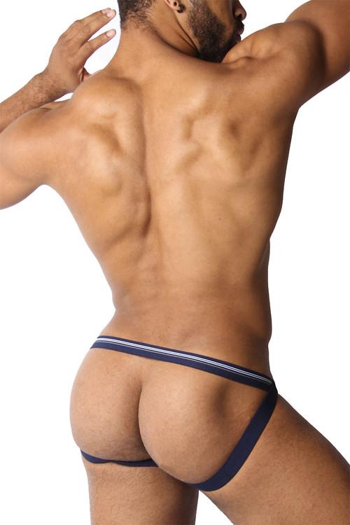 CellBlock 13 Tight End Swimmer Jockstrap CBU270-NV Navy Blue - Mens Jockstraps - Rear View - Topdrawers Underwear for Men