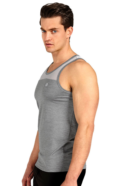Teamm8 Duo Net Tank TC-DUOT-SV Silver - Mens Athletic Tank Tops - Side View - Topdrawers Clothing for Men