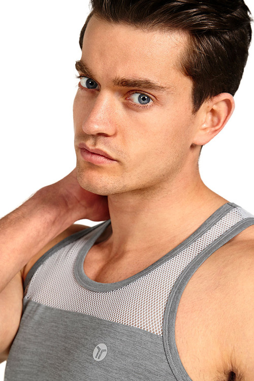 Teamm8 Duo Net Tank TC-DUOT-SV Silver - Mens Athletic Tank Tops - Front View - Topdrawers Clothing for Men