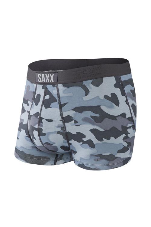 Saxx Ultra Trunk w/ Fly   Graphite Stencil Camo SXTR30F-GSC - Mens Boxer Briefs - Front View - Topdrawers Underwear for Men