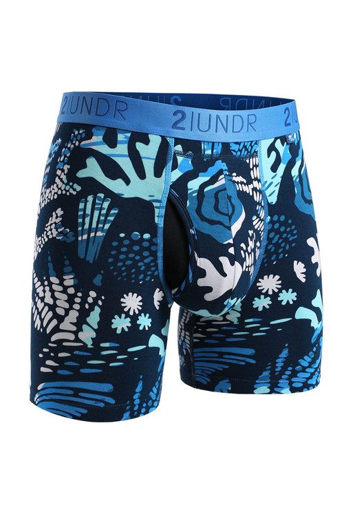 2UNDR Swing Shift Boxer Brief Coral Reefer 2U01BB-198 - Mens Boxer Briefs - Front View - Topdrawers Underwear for Men