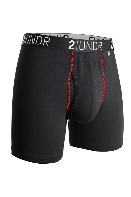 2UNDR Swing Shift Boxer Brief Black/Red 2U01BB-003 - Mens Boxer Briefs - Front View - Topdrawers Underwear for Men