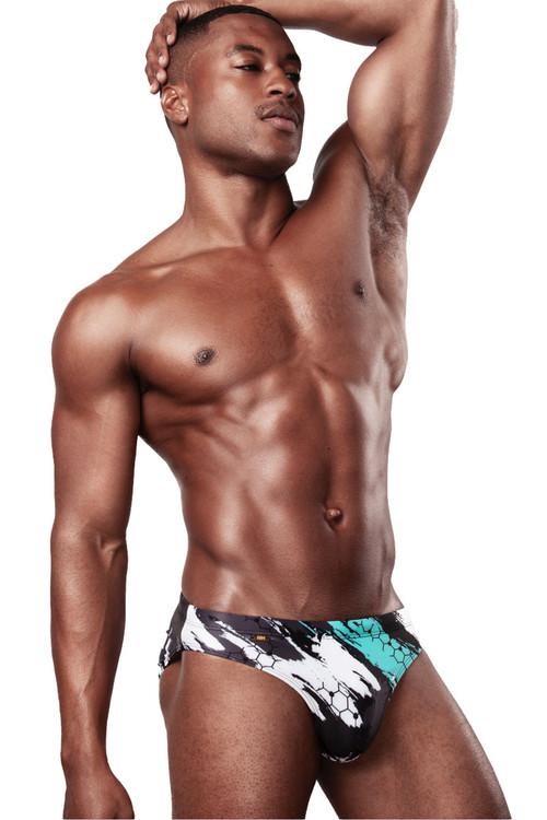 Garçon Model Urban Camo Swim Brief GM20-SWIM-URBAN - Mens Swim Bikinis - Front View - Topdrawers Swimwear for Men