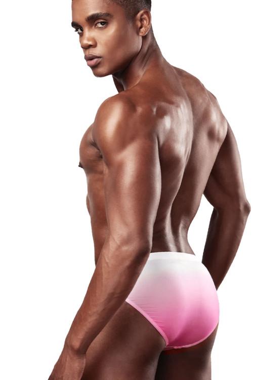 Garçon Model Pink Horizon Swim Brief GM20-SWIM-PINK - Mens Swim Bikinis - Rear View - Topdrawers Swimwear for Men