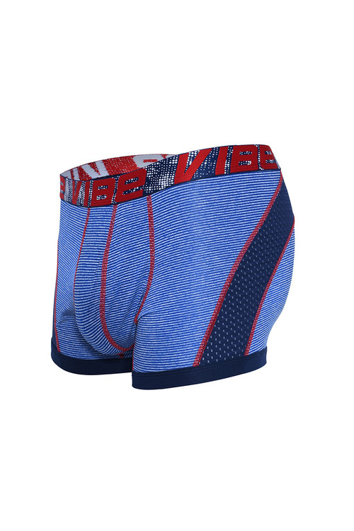 Andrew Christian Vibe Stripe Sports Mesh Boxer 91850-BU Blue - Mens Boxer Briefs - Garment View - Topdrawers Underwear for Men