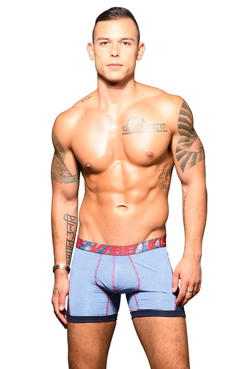 Andrew Christian Vibe Stripe Sports Mesh Boxer 91850-BU Blue - Mens Boxer Briefs - Front View - Topdrawers Underwear for Men