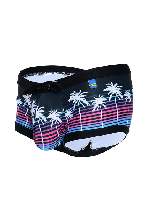 Andrew Christian California Sunset Swim Trunk 7806 - Mens Swim Trunk Swimsuits - Garment View - Topdrawers Swimwear for Men