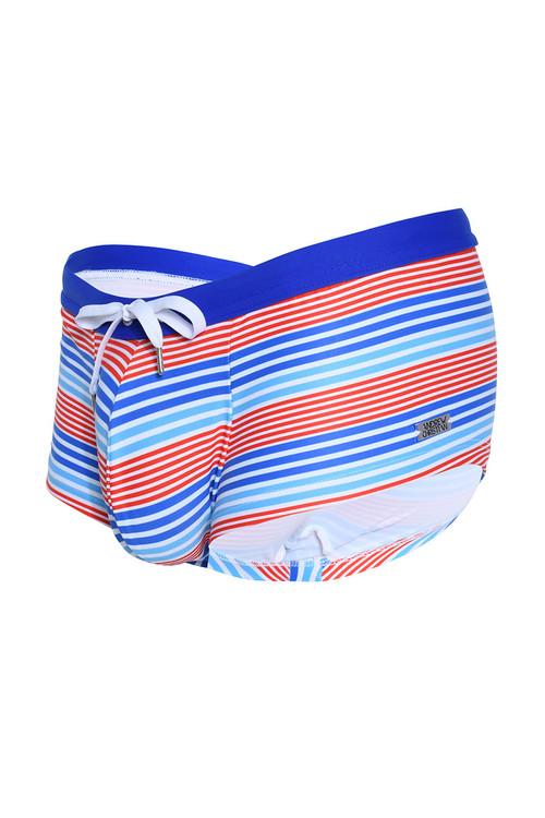 Andrew Christian Nautical Stripe Swim Trunk 7817 - Mens Swim Trunk Swimsuits - Garment View - Topdrawers Swimwear for Men