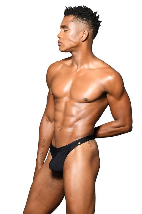 Andrew Christian San Tropez Swim Thong Almost Naked 7807-BL Black - Mens Swim Thong Swimsuits - Side View - Topdrawers Swimwear for Men