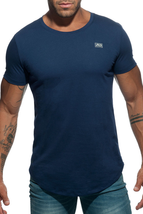 Addicted Basic U-Neck T-Shirt AD696-09 Navy Blue - Mens T-Shirts - Front View - Topdrawers Clothing for Men
