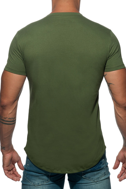 Addicted Basic U-Neck T-Shirt AD696-12 Khaki - Mens T-Shirts - Rear View - Topdrawers Clothing for Men