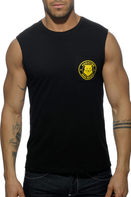 Addicted Society Bears Pocket Tank Top AD571-10 Black - Mens Tank Tops - Front View - Topdrawers Clothing for Men