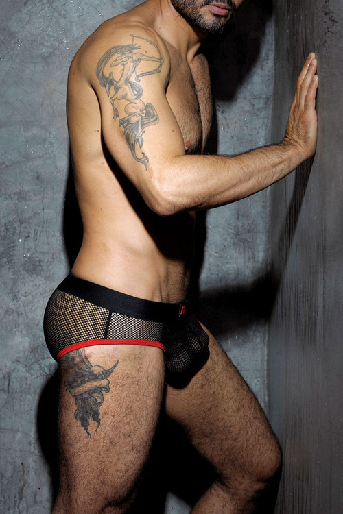 Addicted Fetish Fetish Mesh Brief ADF02-06 Red - Mens Fetish Briefs - Side View - Topdrawers Underwear for Men