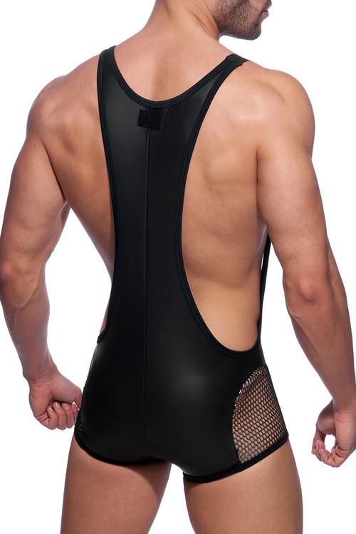 Addicted AD Party Singlet AD852-10 Black - Mens Fetish Wrestler Singlet - Rear View - Topdrawers Fetish Underwear for Men