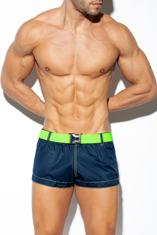 ES Collection Belt Swim Short 2026-09 Navy Blue - Mens Swim Shorts - Front View - Topdrawers Swimwear for Men