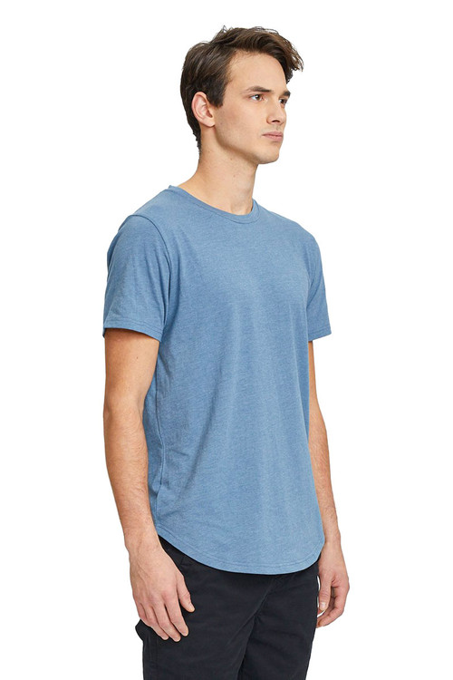Kuwalla Tee Eazy Scoop Tee KUL-CT1851 Blue Stone - Mens T-Shirts - Side View - Topdrawers Clothing for Men