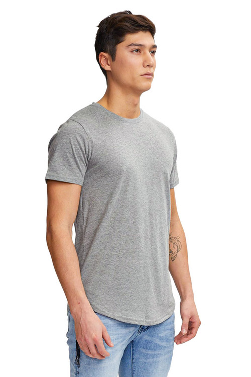 Kuwalla Tee Eazy Scoop Tee KUL-CT1851 Heather Grey - Mens T-Shirts - Side View - Topdrawers Clothing for Men
