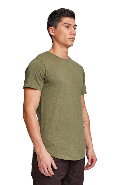 Kuwalla Tee Eazy Scoop Tee KUL-CT1851 Burnt Olive - Mens T-Shirts - Side View - Topdrawers Clothing for Men