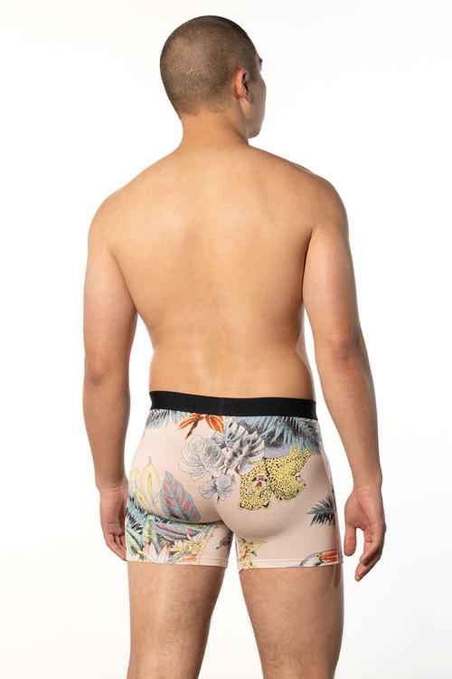 Saxx Vibe Boxer Brief   Pink Disco Jungle SXBM35-DJP - Mens Boxer Briefs - Rear View - Topdrawers Underwear for Men