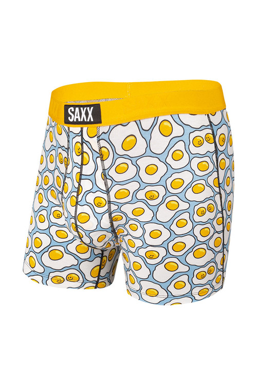 Saxx Vibe Boxer Brief | Yellow TGI-Fried Egg SXBM35-YTF - Mens Boxer Briefs - Front View - Topdrawers Underwear for Men