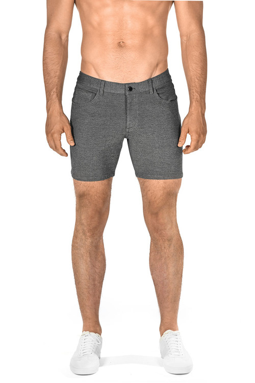 ST33LE Stretch Knit Jeans Shorts   Grey 1932-GRY - Mens Shorts - Front View - Topdrawers Clothing for Men