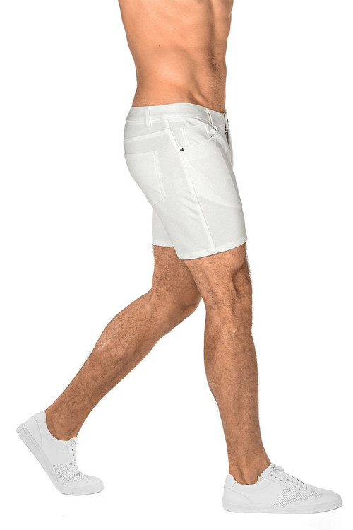 ST33LE Stretch Knit Jeans Shorts   White 1932-WHT - Mens Shorts - Rear View - Topdrawers Clothing for Men
