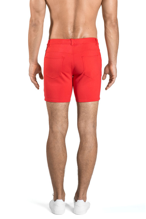 ST33LE Stretch Knit Jeans Shorts   Watermelon 1932-WTR - Mens Shorts - Rear View - Topdrawers Clothing for Men