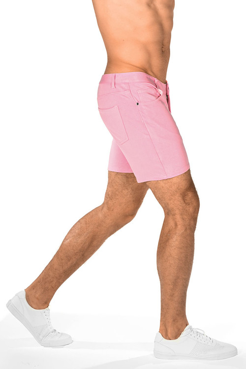 ST33LE Stretch Knit Jeans Shorts | Pink 1932-PK - Mens Shorts - Rear View - Topdrawers Clothing for Men