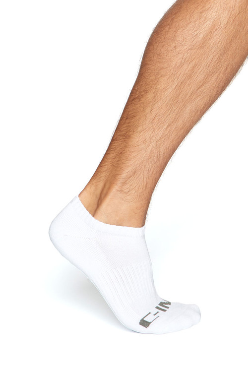 C-IN2 Core No Show Socks 2000S-100 White - Mens Socks - Front View - Topdrawers Underwear for Men