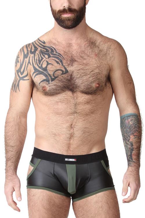 CellBlock 13 Night Hawk Jock Trunk CBU263-GN Green - Mens Jock Boxers - Front View - Topdrawers Underwear for Men