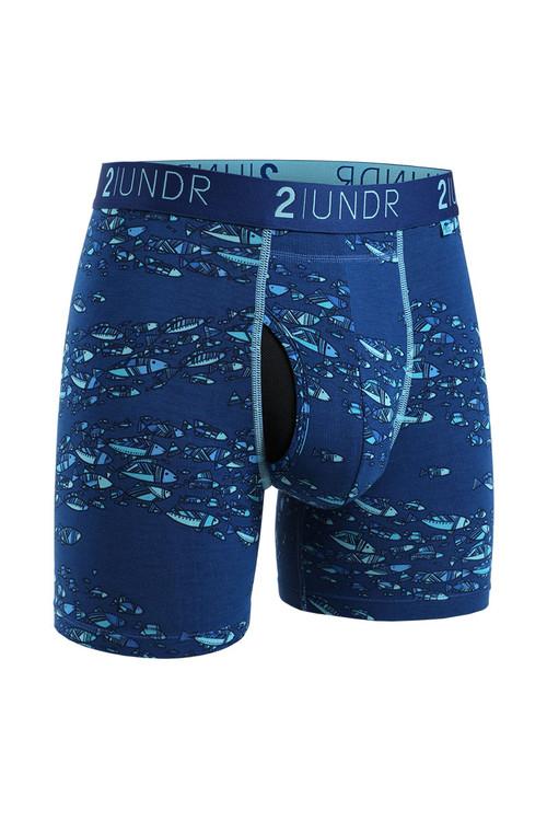 2UNDR Swing Shift Boxer Brief | Fish School 2U01BB-212 - Mens Boxer Briefs - Front View - Topdrawers Underwear for Men
