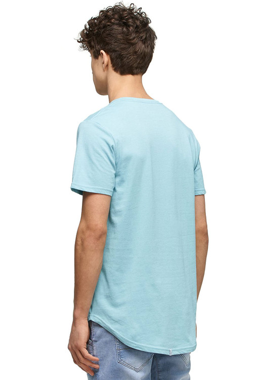 Kuwalla Tee Eazy Scoop Tee KUL-CT1851-MKBL Milky Blue- Mens T-Shirts - Rear View - Topdrawers Clothing for Men